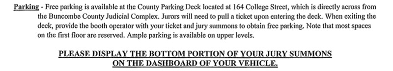 Jury_Summon_Parking_Buncombe_County_NC