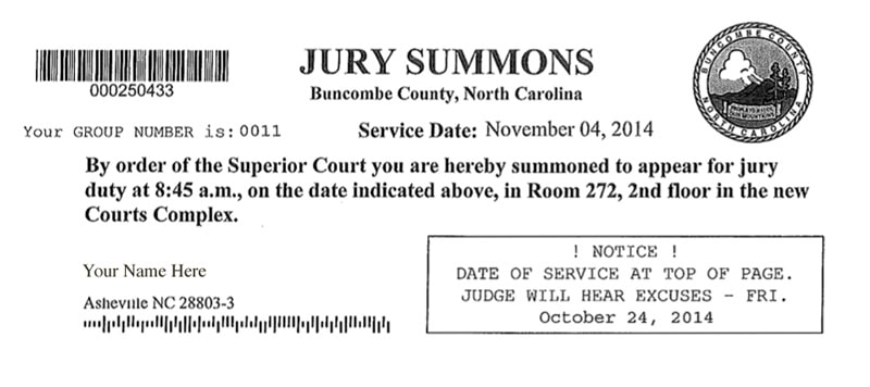 Jury Duty in Buncombe County, NC;  10 THINGS YOU WANT TO KNOW